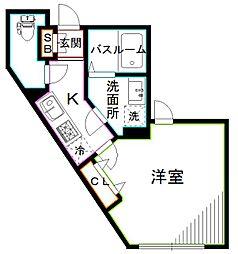 西武新宿線 新井薬師前駅 徒歩6分の賃貸マンション 3階1Kの間取り
