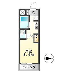 シャトー岐大 B[1階]の間取り