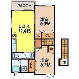 グリーン コリーナ 2階2LDKの間取り