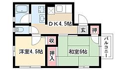 愛知県名古屋市昭和区北山本町1丁目の賃貸アパートの間取り