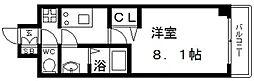 プレサンス谷町九丁目駅前 12階1Kの間取り