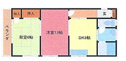 埼玉県さいたま市緑区東浦和8丁目の賃貸アパートの間取り