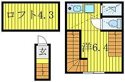 JR高崎線 尾久駅 徒歩15分の賃貸アパート 2階ワンルームの間取り