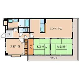 奈良県奈良市宝来2丁目の賃貸マンションの間取り