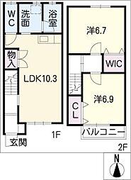 [タウンハウス] 愛知県弥富市三百島1丁目 の賃貸【/】の間取り