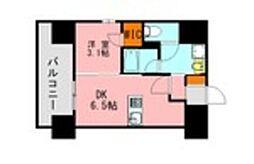 JR鹿児島本線 博多駅 徒歩21分の賃貸マンション 9階1DKの間取り