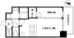 プレサンス京町堀 3階1LDKの間取り