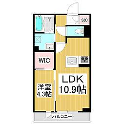 サンハウジング 3階1LDKの間取り