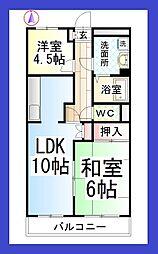 神奈川県大和市中央林間6丁目の賃貸マンションの間取り