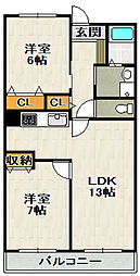 グリーンコート西田[1階]の間取り