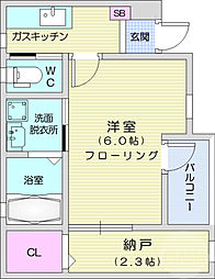 仙台市地下鉄東西線 八木山動物公園駅 徒歩25分の賃貸アパート 1階1SKの間取り