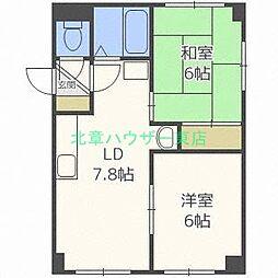 北海道札幌市東区北二十四条東21丁目の賃貸マンションの間取り