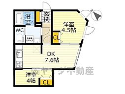 NOZOMIO OHIMACHI TERRACE 4階2DKの間取り