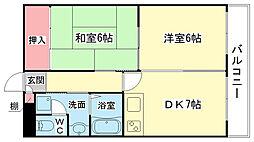 大阪府大阪市大正区三軒家西3丁目の賃貸マンションの間取り