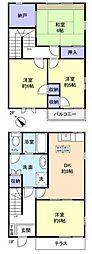 [テラスハウス] 千葉県八千代市ゆりのき台7丁目 の賃貸【千葉県 / 八千代市】の間取り