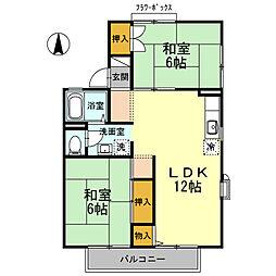 ボヌール緑町 D棟[2階]の間取り