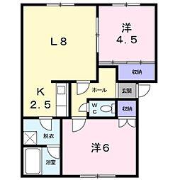 北海道札幌市白石区米里三条1丁目の賃貸アパートの間取り