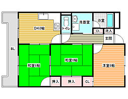 大阪府八尾市八尾木東1丁目の賃貸マンションの間取り