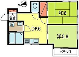 東京都杉並区成田東2丁目の賃貸アパートの間取り