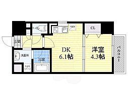 サムティガーデン江坂1 10階1DKの間取り