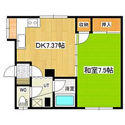 エスポアールマンション(西三輪) 1階1DKの間取り