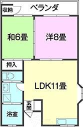 サンヒルズYARAII 3階2LDKの間取り