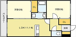 ニューシティアパートメンツ南小倉II[10階]の間取り