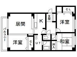 エスティ三番舘 3号館 1階3LDKの間取り
