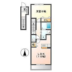 岡山県倉敷市中畝9の賃貸アパートの間取り
