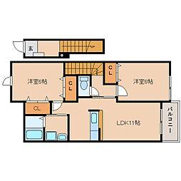 静岡県焼津市小土の賃貸アパートの間取り