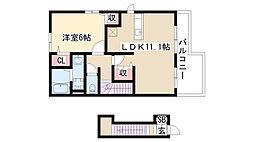 愛知県名古屋市緑区大高町字己新田の賃貸アパートの間取り