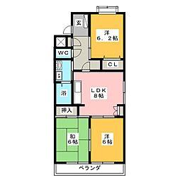 コンフォーレ岡田[4階]の間取り