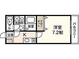 I Jigozen 1階1Kの間取り
