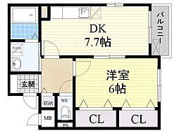 北大阪急行電鉄 緑地公園駅 徒歩16分の賃貸アパート 2階1DKの間取り