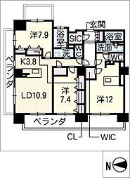 ロイヤルパークスERささしま(西棟)[11階]の間取り