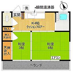 横山荘[201号室]の間取り