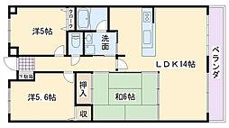 フローラハイツ泉佐野弐番館[502号室]の間取り