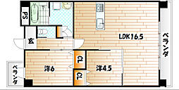 ルネス到津の森[2階]の間取り