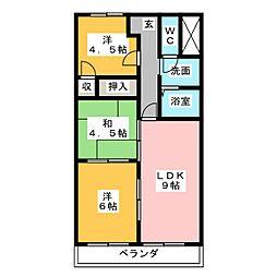 吉田マンション城房[4階]の間取り