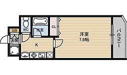 シャインビュー新大阪 8階1Kの間取り