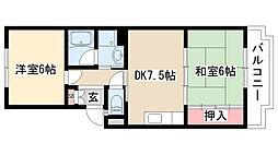 愛知県名古屋市緑区若田2丁目の賃貸マンションの間取り