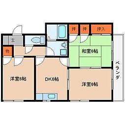 奈良県桜井市阿部の賃貸マンションの間取り