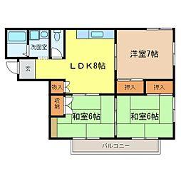 ヴィラ千代田[3階]の間取り