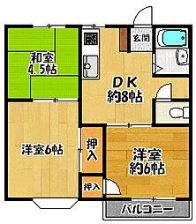 兵庫県三田市対中町の賃貸アパートの間取り