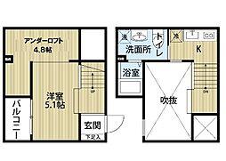 愛知県名古屋市中村区北畑町2丁目の賃貸アパートの間取り