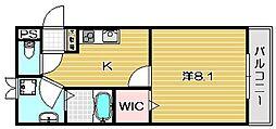 大阪府茨木市田中町の賃貸マンションの間取り