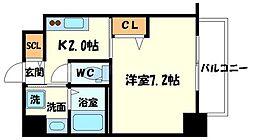 プレアデス千里山田 2階1Kの間取り