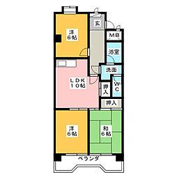 リバーサイド横地[4階]の間取り