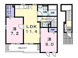 石川3丁目アパート[201号室]の間取り