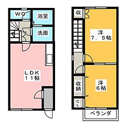 [テラスハウス] 愛知県江南市古知野町高瀬 の賃貸【/】の間取り